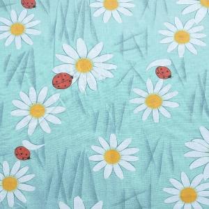 Ткань на отрез ситец 80 см 6679/1 Ромашки цвет голубой