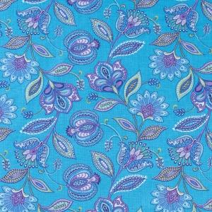 Ткань на отрез ситец 80 см 20113/1 Цветочная фантазия цвет голубой