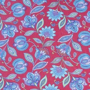 Ткань на отрез ситец 80 см 20113/2 Цветочная фантазия цвет красный