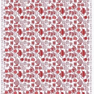 Ткань на отрез рогожка 150 см 97462 Чаепитие цвет красный