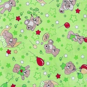 Бязь ГОСТ детская 150 см 350/2 Мишки цвет зеленый