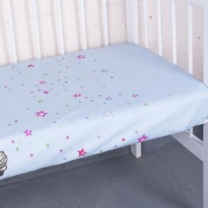 Простыня на резинке бязь детская 7347/2 Мишутка цвет голубой 90/200/20 см