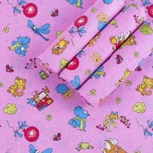 Набор детских пеленок бязь 4 шт 90/120 см 383/3 Зоопарк цвет розовый