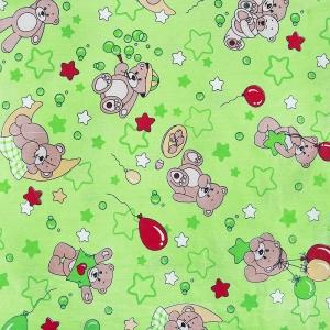 Ткань на отрез бязь 120 гр/м2  детская 150 см 350/2 Мишки зеленый