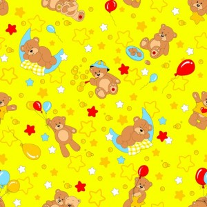 Ткань на отрез бязь ГОСТ детская 150 см 350/5 Мишки цвет желтый