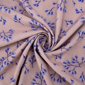 Ткань на отрез ниагара 150 см D052-2 Голубые цветы на розовом