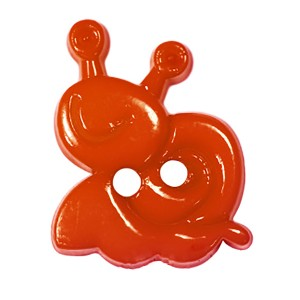 Пуговица детская на два прокола Улитка 15 мм цвет оранжевый упаковка 24 шт