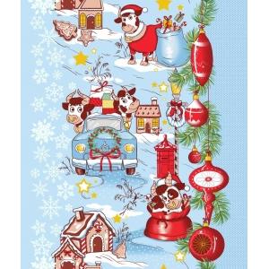 Ткань на отрез вафельное полотно 50 см 5651/2 Новогоднее путешествие