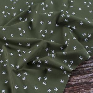 Ткань на отрез перкаль 150 см 306/5 Птички цвет олива