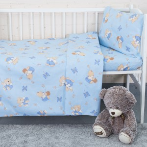 Пододеяльник детский из бязи 1332/1 За медом цвет голубой, 110х145 см