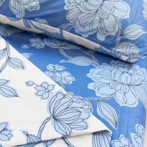 Постельное белье ситец Шуя Цветы голубые 1.5 сп
