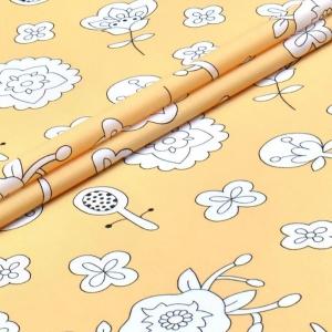 Ткань на отрез поплин детский 220 см 28330/1 Совята желтые компаньон