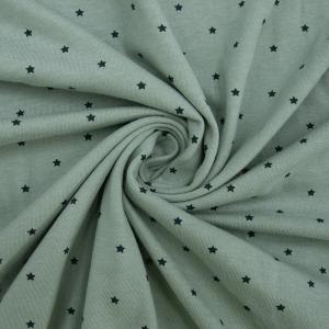 Ткань на отрез кулирка 1275-V14 Звезды цвет светлый хаки