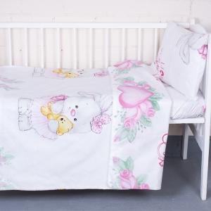 Постельное белье в детскую кроватку из перкаля 8799/1 Зайка с мишкой  с простыней на резинке