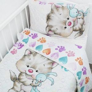 Постельное белье в детскую кроватку из перкаля 8970/1 Котенок с зайкой  с простыней на резинке