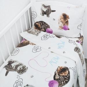 Постельное белье в детскую кроватку из перкаля 16050/1 Пушистики  с простыней на резинке