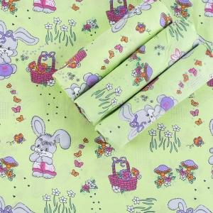 Набор детских пеленок бязь 4 шт 90/120 см 1304/3 Лесная сказка цвет зеленый