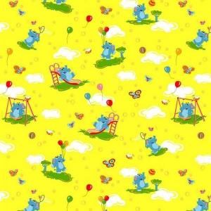 Набор детских пеленок бязь 4 шт 90/120 см 315/5 Слоники желтый