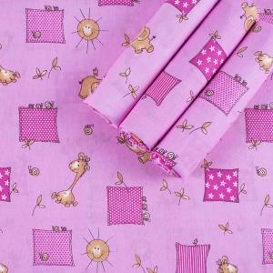 Набор детских пеленок бязь 4 шт 90/120 см 366/3 Жирафики цвет розовый