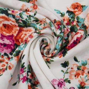 Ткань на отрез штапель 150 см D025-2 Букет роз