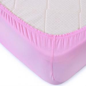 Простыня трикотажная на резинке Премиум М-2011  цвет розовый 120/200/20 см