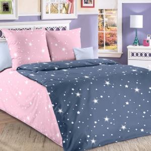 Бязь 120 гр/м2 детская 150 см Звездное небо розовый 204562 компаньон