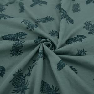 Ткань на отрез кулирка 1371-V6 Ананасы цвет зеленый