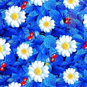 Ткань на отрез вафельное полотно набивное 150 см 391/1 Жаркое лето цвет голубой