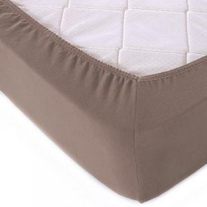 Простыня трикотажная на резинке цвет темно-коричневый 140/200/20 см