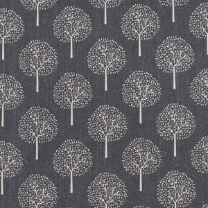 Ткань на отрез лен TBY-DJ-22 Деревья цвет серый