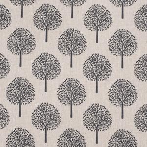 Ткань на отрез лен TBY-DJ-22 Деревья цвет бежевый