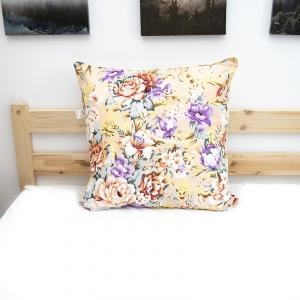 Подушка Лебяжий пух Цветы 003 цвет персиковый 60/60