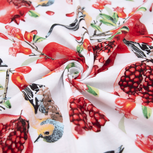 Ткань на отрез кулирка R11079-V2 Райский сад цвет белый