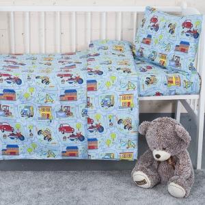 Постельное белье в детскую кроватку 1657 поплин с простыней без резинки
