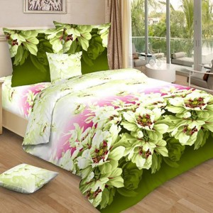 Постельное белье бязь 4158/3 Утро в саду цвет зеленый 2-х сп с евро простыней
