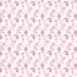 Ткань на отрез бязь премиум ГОСТ детская 150 см 13211/1 Балеринки на розовом