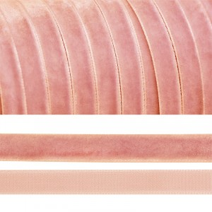 Лента бархатная 20 мм TBY LB2076 цвет гряз-розовый 1 метр