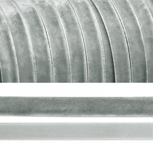 Лента бархатная 20 мм TBY LB2088 цвет серый 1 метр