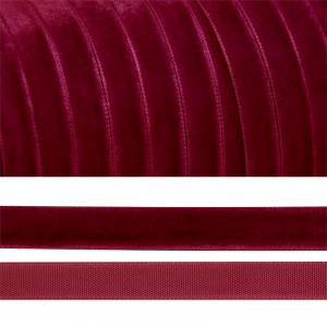 Лента бархатная 25 мм TBY LB2544 цвет бордо 1 метр