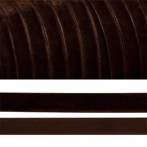Лента бархатная 6 мм TBY LB0672 цвет коричневый 1 метр