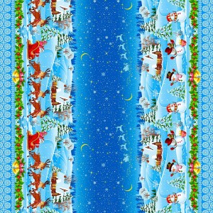 Рогожка 150 см набивная арт 904 Тейково рис 18746 вид 1 Новогодние снеговики
