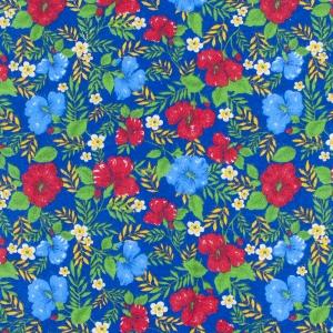 Ткань на отрез фланель 90 см 134-2П Цветы на синем