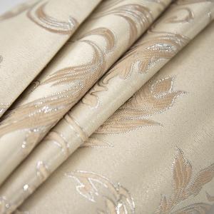 Портьерная ткань с люрексом 150 см на отрез Х7187 цвет 15 светло-бежевый вензель