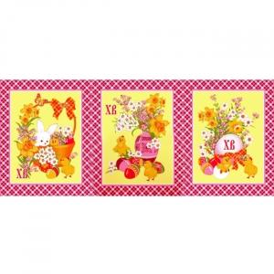 Ткань на отрез вафельное полотно набивное 150 см 348/3 Пасхальный цвет розовый