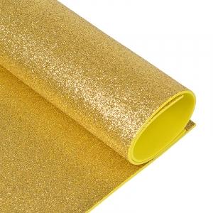 Фоамиран глиттерный 2 мм 20/30 см уп 10 шт MG.GLIT.H008 цвет светло-золотой