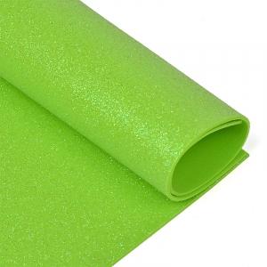 Фоамиран глиттерный 2 мм 20/30 см уп 10 шт MG.GLIT.H045 цвет салатовый