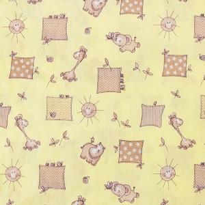 Ткань на отрез бязь 120 гр/м2  детская 150 см 366/4 Жирафики цвет желтый