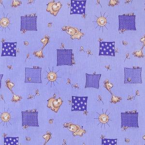 Ткань на отрез бязь ГОСТ детская 150 см 366/5 Жирафики цвет фиолетовый
