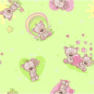 Бязь 120 гр/м2 детская 150 см 5854/3 Мишка романтик цвет салатовый