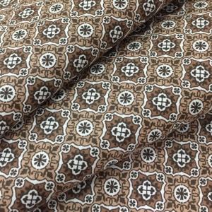 Ткань на отрез сатин набивной 80 см 5622/2 Анже цвет коричневый
